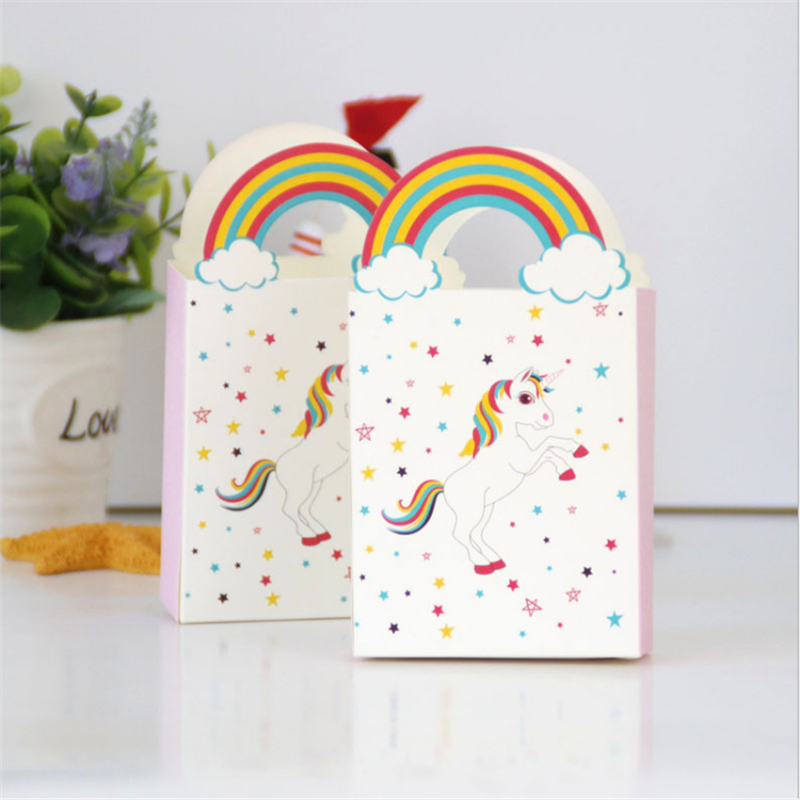 Unicorn Gift Box Unicorn Party 10pcs Rainbow Star Unicorn Candy Box Wedding Gifts For Guests Birthday Party Decorations Kids.Q