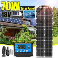 LEORY 70W 18V Semi flexible Solar Panel Solar Cell + 10/20/30/40/50A PWM Solar Charger Controller for Outdoor Camping LED Light