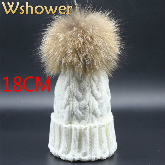18 cm Large 100% Real Raccoon Fur PomPom Women Beanies Skull Cap Warm Winter Knitted Women Fur Hat Hip Hop With Hairball Top