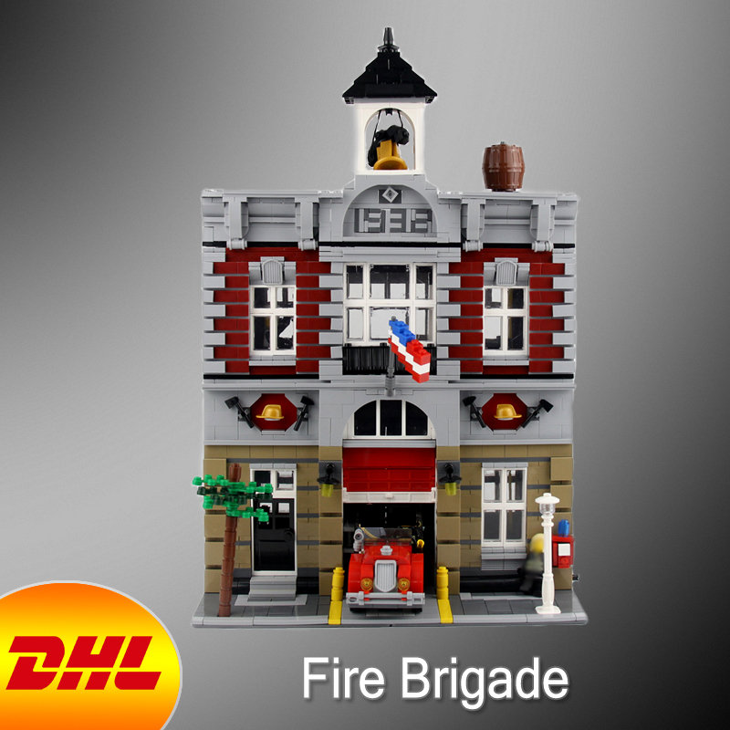 HF City Street Figures 2313Pcs Figures Fire Brigade Model Building Kits Blocks Bricks Toys For Children Compatible With 10197 10646 160pcs city figures fishing boat model building kits blocks diy bricks toys for children gift compatible 60147