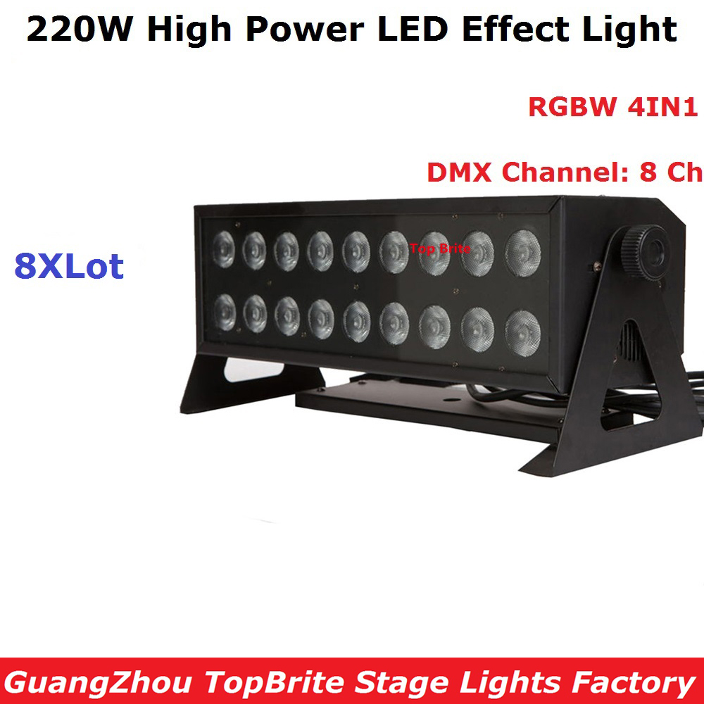 8Pcs/Lot High Power 220W LED Stage Strobe Effect Lights 18X12W RGBW Quad Color LED Wall Washer Lights With 8 DMX Channels