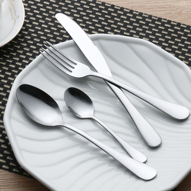 24 pcs stainless steel flat ware sets plated cutlery. Black Bedroom Furniture Sets. Home Design Ideas