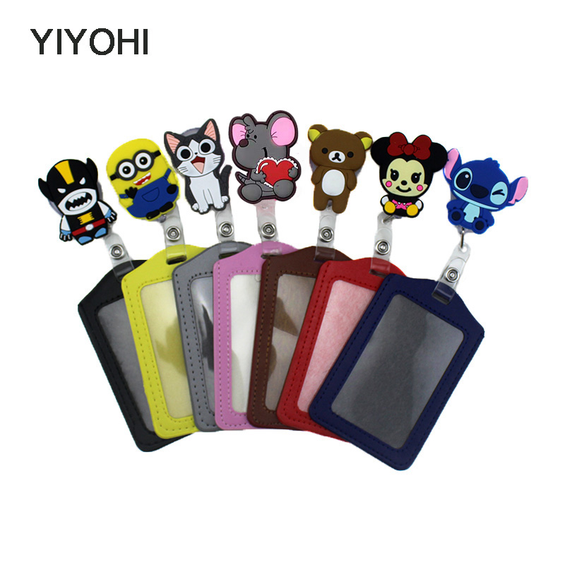 YIYOHI Cute Silicone card case holder Bank Credit Card Holders Bus ID Identity Badge with Cartoon Retractable Reel