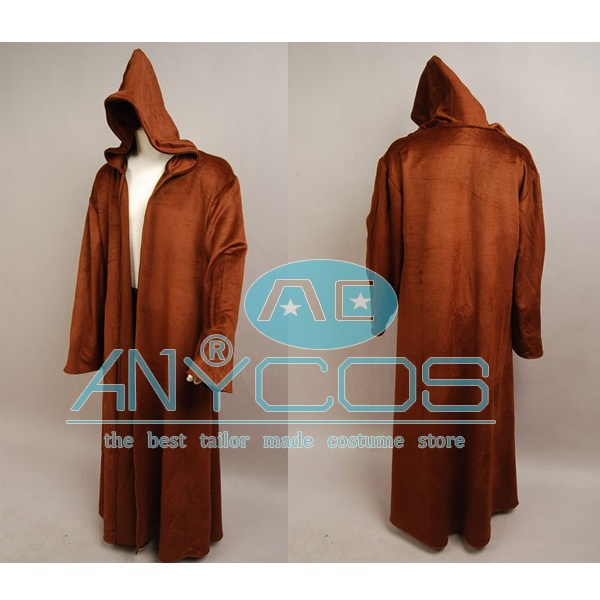 69bc5cdbca Star Wars Brown Sith Jedi Robe Wool Cloak Kenobi Hooded Robe Outfit Movie  Cosplay Costume New