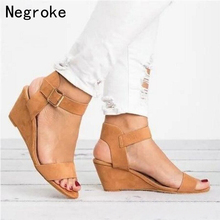 цена Women Sandals 2019 Platform Sandals Wedges Shoes For Women Heels Sandalias Mujer Summer Shoes Leather Wedge Heel Sandals Size 43 в интернет-магазинах