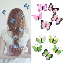 5Pcs/set Butterfly Hair Clips For Women Bridal Wedding Photography Portrait Style Hair Accessories Costume Headwear(China)