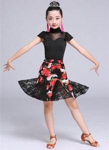 Image 4 - 2 adet Setleri Kız Latin Dans Elbise Kızlar Için Balo Salonu Dans Elbise Kız Rekabet Giyim Çocuklar Çocuk Dans Kostümleri Set