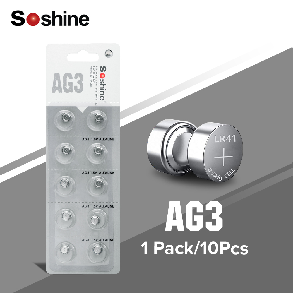 Soshine <font><b>x10</b></font> AG3 LR41 392 SR41 192 1.5V Button Cell Battery 384, 392A, AG3, CX41, G3, L736 ,LR736, SR41, SR41SW For Toys <font><b>Watch</b></font> image