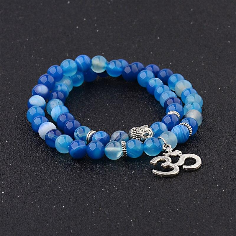 OIQUEI Antique Yoga Om Charm Metal Pendant Buddha Men Bracelet Jewelry 2018 Tiger Eye Stone Lava Rock Buddhist Prayer Bracelets