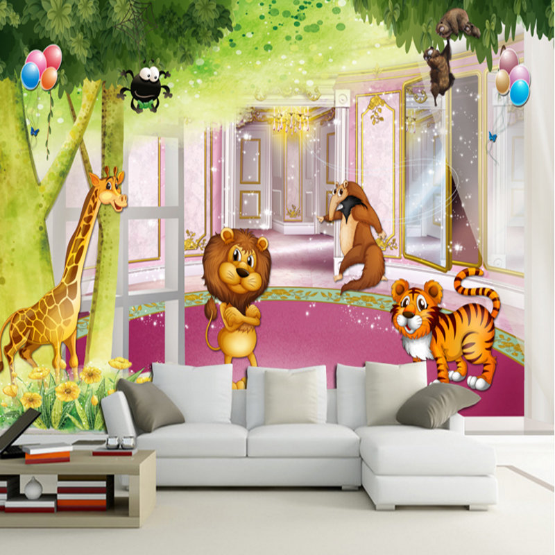 3d home decorating custom wallpaper for living room bedroom wallpaper for kids animalls lion giraffe tiger children wallpaper