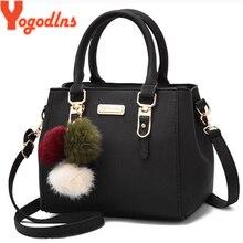 Yogodlns, женская сумка с подвеской из бисера, женская сумка на плечо с тиснением, женская сумка-мессенджер, сумки с помпонами, сумка высокого качества