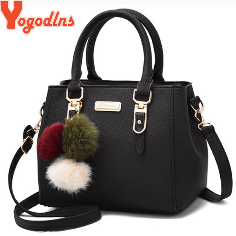 Yogodlns Women Beading Pendant Handbag Ladies Embossed Shoulder Bag Messenger Hairball Bags High Quality
