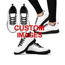 INSTANTARTS Для женщин кроссовки уличная спортивная обувь милый мультфильм нестандартные Кроссовки Женская сетчатая повседневная обувь черный, белый цвет