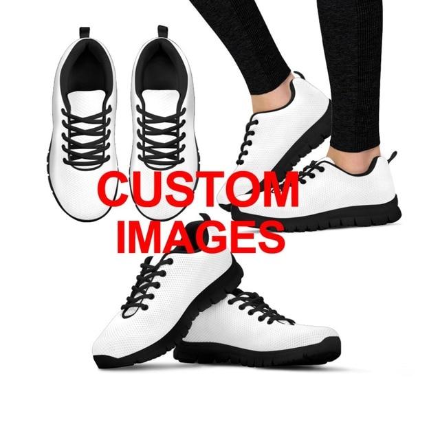 INSTANTARTS Women Running Shoes Outdoor Sports Shoes Cute Cartoon Custom Sneakers Female Ladies Mesh Walking Shoes Black White