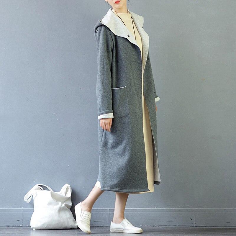 2018 Zanzea Women Winter Fleece Hooded Pockets Buttons Long Sleeve Jacket Warm Christmas Outerwear Solid Long Coat Plus Size