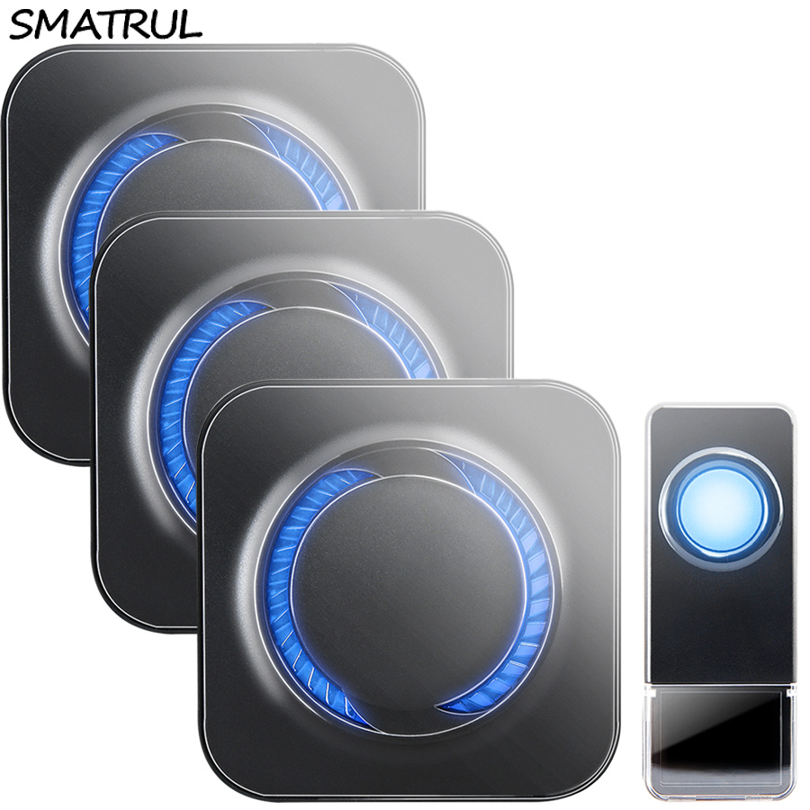 SMATRUL Waterproof Wireless Doorbell EU Plug 300M long range smart home Door Bell ring call 1 button 3 receiver LED light DeafSMATRUL Waterproof Wireless Doorbell EU Plug 300M long range smart home Door Bell ring call 1 button 3 receiver LED light Deaf