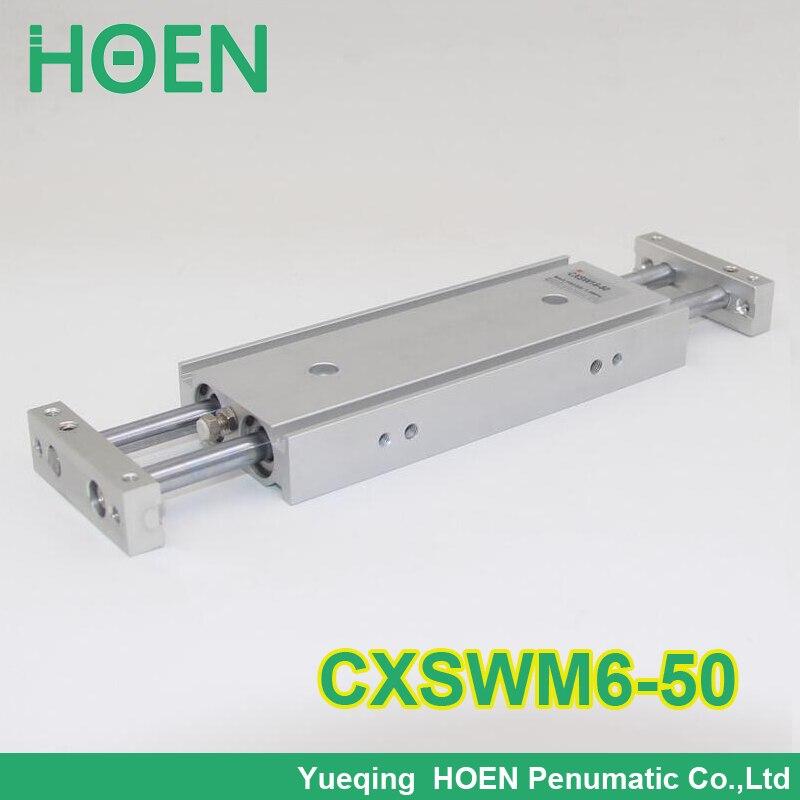 Haute qualité CXSW série CXSWM6-50 6mm alésage 50mm course double tige cylindre roulement à glissière double tige pneumatique cylindre CXSW6-50