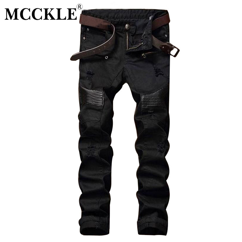 MCCKLE Fashion Designer Mens Ripped Biker Jeans Leather Patchwork Slim Fit Black Moto Denim Joggers  Male Distressed Jeans Pants moruancle fashion mens ripped biker jeans pants brand designer distressed denim joggers for male slim fit straight moto trousers