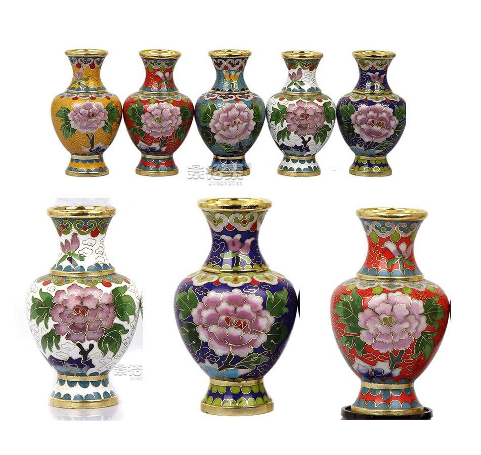 1pair 2pcs 4 Chinese Handmade Vintage Cloisonne Vase Ornament Home Decoration