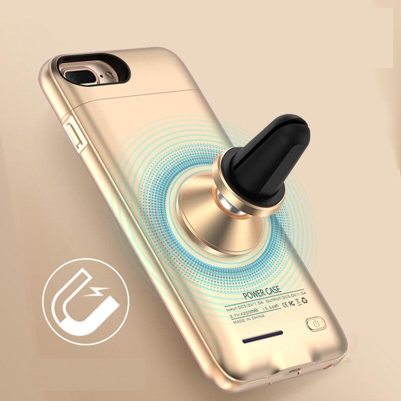 imágenes para Creativo Ultra Delgado 3000 ~ 4200 mAh Batería Externa Recargable Con Soporte Magnético para iphone 6 6 s 7 más caso de la energía para ios 10