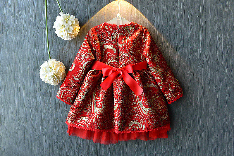 WLG girls Chinese Style New Year dresses kids spring autumn long sleeve embroidery dress baby clothes children 3 7 years