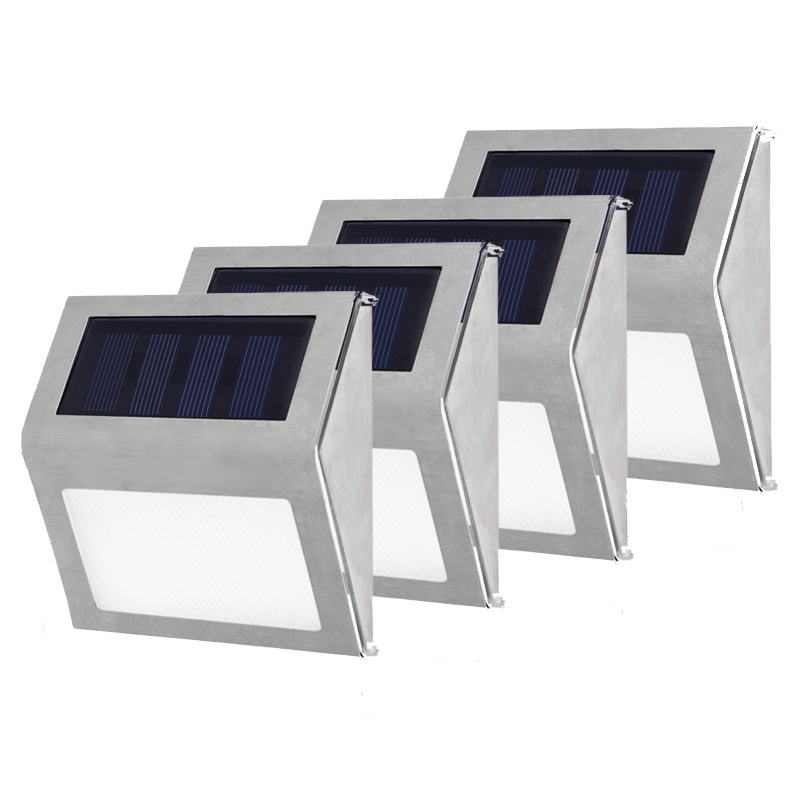 1-4pcs Outdoor Solar Lights Garden Decoration Stainless Steel 3LED Sunlight Waterproof Garden Stair Courtyard Pathway Lamps1-4pcs Outdoor Solar Lights Garden Decoration Stainless Steel 3LED Sunlight Waterproof Garden Stair Courtyard Pathway Lamps
