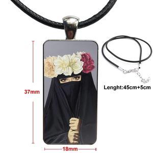 Image 4 - Voor Vrouwen Handgemaakte Meisjes Oosterse Vrouw In Hijab Gezicht Moslim Islamitische Ketting Mode Lange Ketting Met Rechthoek Ketting Sieraden