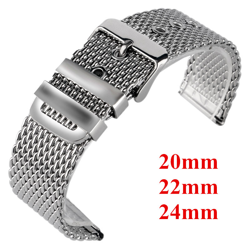 Classic 20mm 22mm 24mm Stainless Steel Mesh Wristband Silver Men Women Pin Buckle Replacement Watch Strap