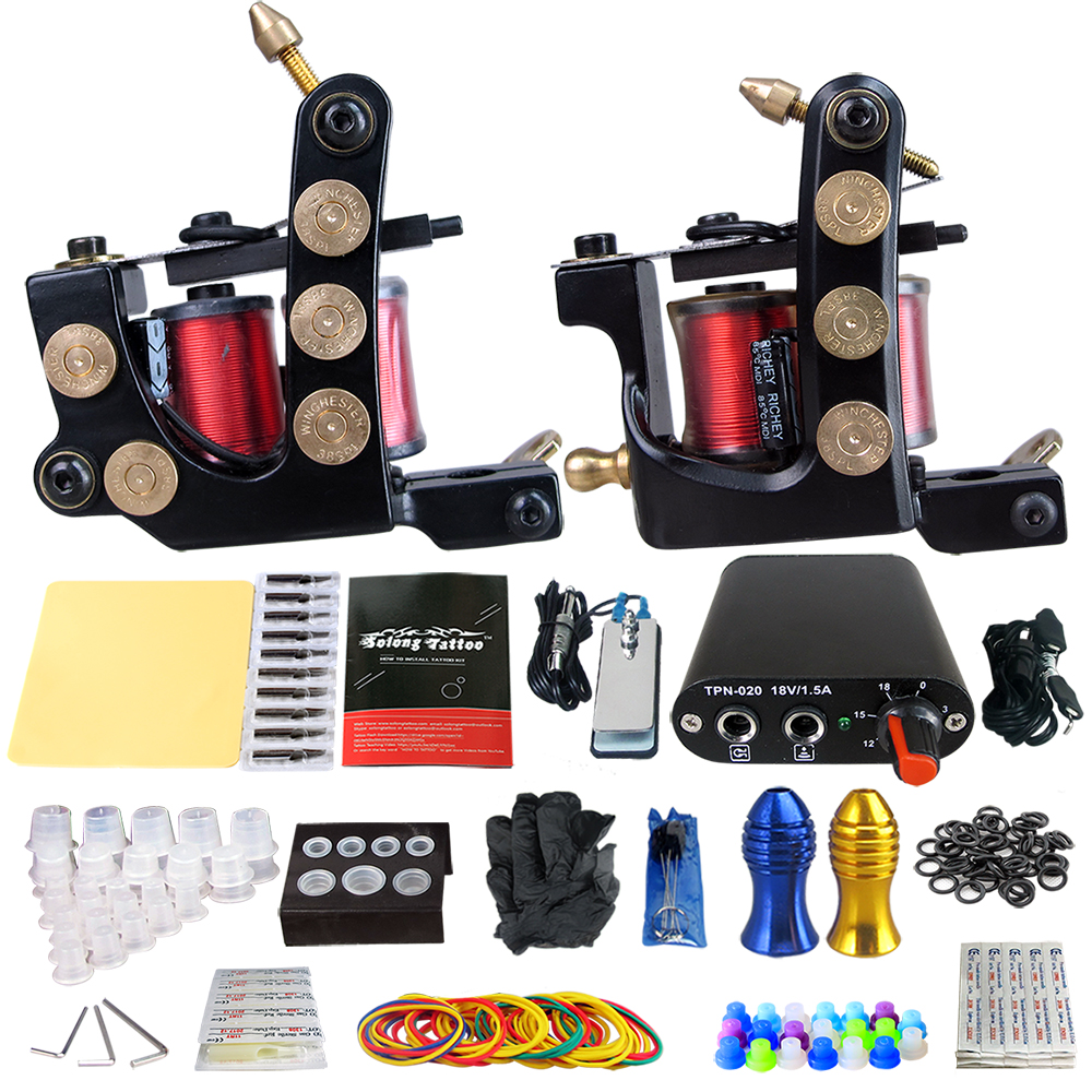 Complete Tattoo Kit 2coil tattoo machine machine for permanent makeup with Power Supply Needle Grips Tips permanent makeup machine kit tattoo stainless steel foot petal power supply hook line combination electric tattoo machine