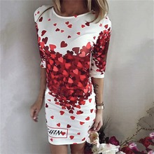 2017 Girls Fashion Women Sexy Dress Hearts Printed Evening Club Party office Prom Mid Sleeve Dress Women Autumn summer Ladies