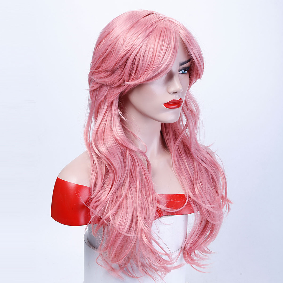 Allaosify Long Wavy Cosplay 10 Colors Wig Heat Resistant Synthetic Costume Cosplay Fun Wigs