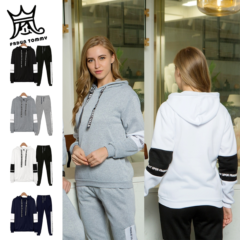 FRDUN TOMMY 2 Piece Set Women Hoodies Pant Clothing Set Warm Newest Clothes Ladies Solid Tracksuit Girl Set Top Pants Suit Male