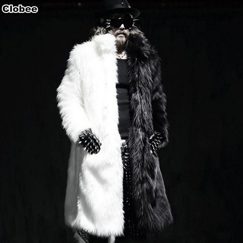 Luxury Winter Men Long Faux Fur Coat 2017 Warm Artificial Fox Fur Jacket Plue Size 4XL 5XL White Black Parka Coat Windbreaker