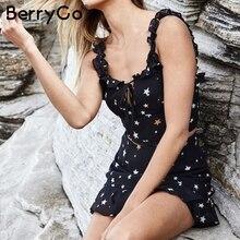Berrygo звезда печати из двух частей Летнее платье Для женщин без рукавов с оборками Повседневные платья 2018 ремень связать Короткое платье Черный Vestidos