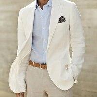 Цвета слоновой кости льняной костюм Для мужчин Белый лен пиджак и брюки Для мужчин s подходит для Свадебные смокинги для Для мужчин Жених Ко