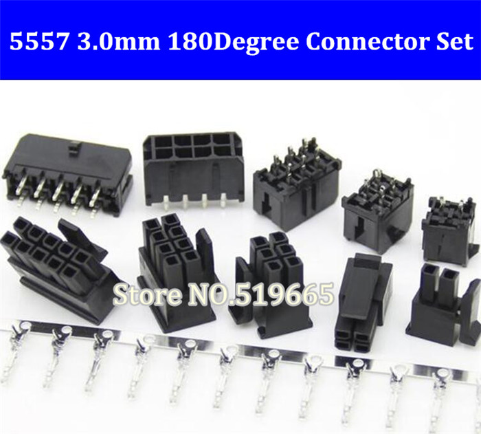 50Set 5557 Connector 3.0mm 2/4/6/8/10/<font><b>12</b></font>/14/<font><b>16</b></font>/18/20/22/24P Straight Black PCB Wire Soldered ( <font><b>Pin</b></font> Header+Housing+Terminals ) image