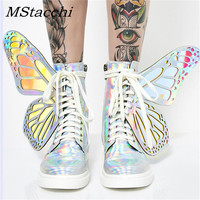 MStacchi Women Shine Silver Short Boots 2019 Butterfly Wings Sneakers Ladies Lace Up Colorful Shoes Woman Bling T Show High Shoe