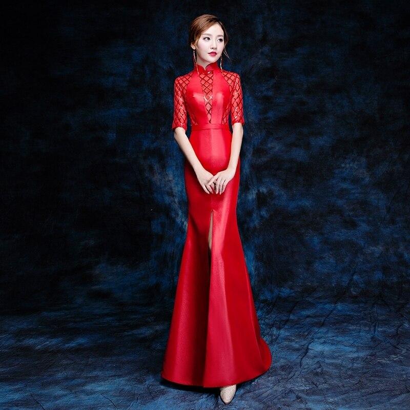2018 красный Cheongsam Сексуальная Qipao Для женщин традиционные китайское платье vestido Vermelho Oriental Стиль Платья для женщин Vestito Da Sera