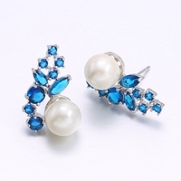 New Trendy White Simulated Pearl Earring Jewelry AAA Zirconia Diamonds Plant Earrings For Woman Colorful Aqua