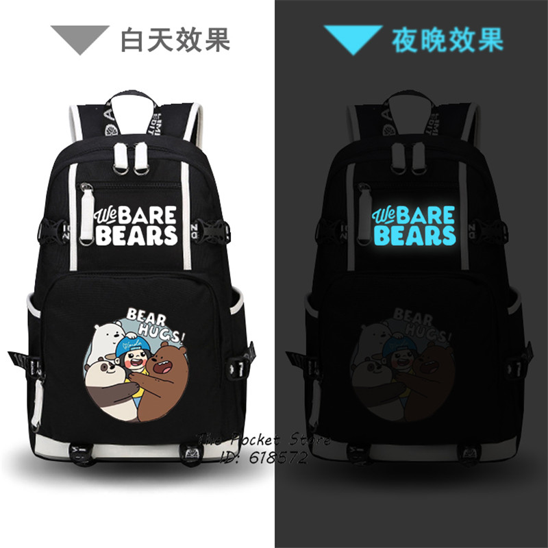 High Quality Anime We Bare Bears Printing Backpack Cartoon School Bags Kawaii Travel Bag Canvas Laptop Backpack Mochila Feminina fashion new women students lovely canvas backpack college small cartoon print sathel multifunction travel bags mochila feminina
