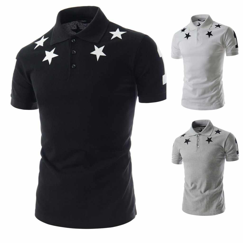 Star Printed Men's Polo Shirt 2019 Summer Business Turn-Down Slim Fit Collar Button Short Sleeve Top Shirt Work Clothes Polos