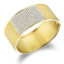 High Quality Cubic Zirconia Dubai Gold Bangles Brand Women Luxury Wide Chunky Bracelets Cuff Dubai Gold Jewellery(China)