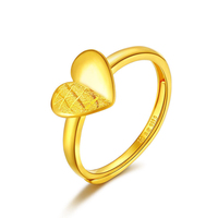 Pure 24K Yellow Gold Ring Women 999 Gold Heart Ring 2.93g
