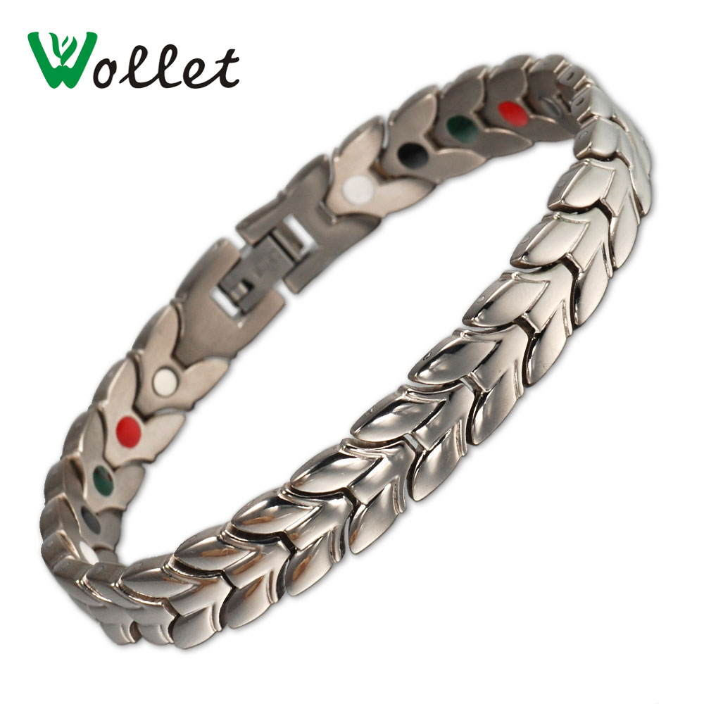 Wollet Magnetic Pure Titanium Bracelet Bangle For Men Healing Health Energy Infrared Negative Ions Germanium Magnets Tourmaline