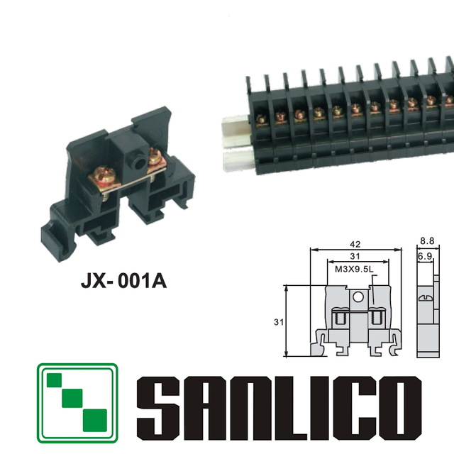 US $4 0 |DIN Rail Universal type screw clamp Terminal Blocks clapboard  screw type JX 001A/JX 001B and DB 001 -in Terminal Blocks from Home  Improvement