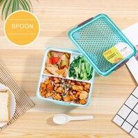 Экологичный контейнер для еды Герметичная крышка Студенческая коробка для завтрака пластиковый двойной отдел для еды коробка для микрован...