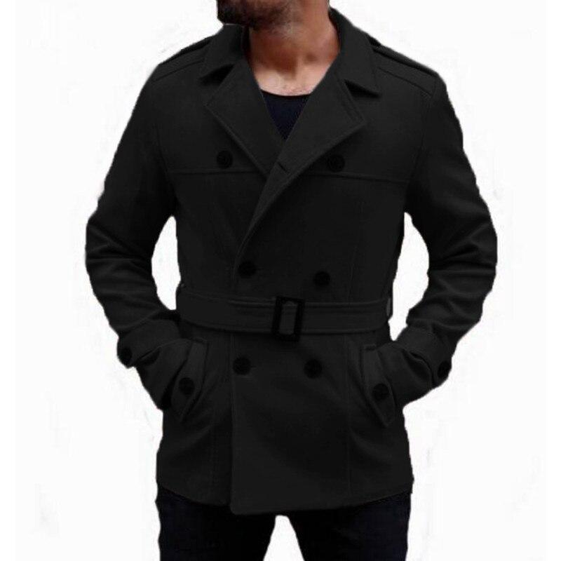 Теплые зимние модные Для мужчин траншеи длинные пальто Шерстяное пальто отложной воротник Slim Fit Двубортная куртка в британском стиле верхн...