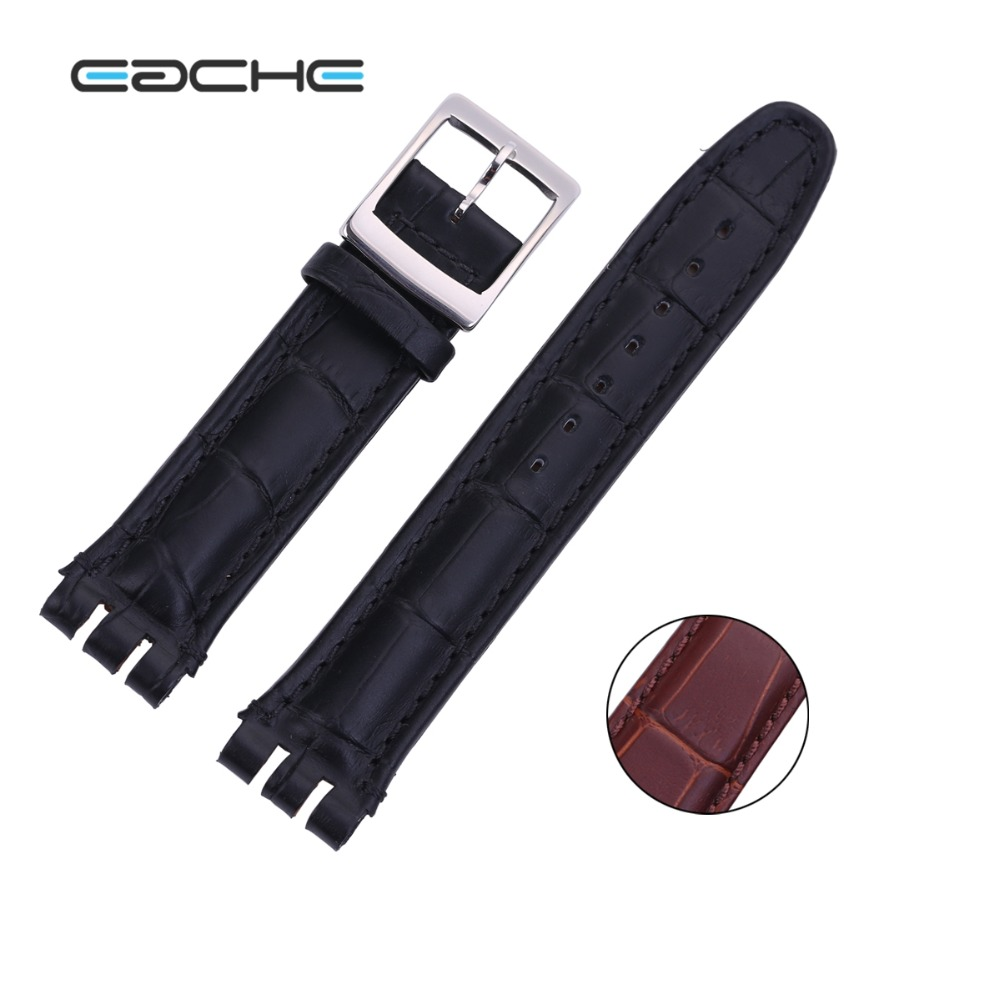 EACHE 17mm 19mm High Quality Black Brown Genuine Leather  Croco Pattern Replacement Watchband Fit For Swatch  For Men Or Women lucky john croco spoon big game mission 24гр 004