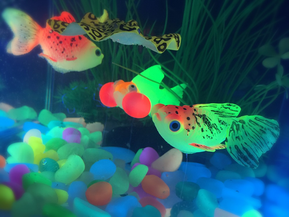 Glow in the dark aquarium decoration goldfish 4 per pack for Aquarium decoration for goldfish