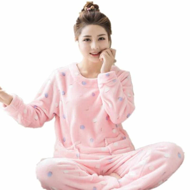 64b21eac5 Winter Warm Sexy Print Dot Home Flannel Pyjama Female Pajama Polyester Full  Trousers Lady Two Piece